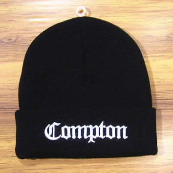 COMPTON Beanie Warm Winter Fashion Cotton Embroidered Wool Knitted Autumn Outdoor Womens & Mens Black & White Cuffed Skully Hat