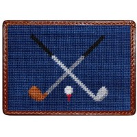 Crossed Clubs Credit Card Wallet in Blue by Smathers & Branson