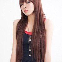 Chestnut Brown Side-swept Bangs Heat-resistant Fiber Romantic Long Wig