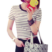 T Shirt      Sexy Little Belly Black and White Striped Short Sleeve T-shirt Crop Tops Short Ropa Mujer