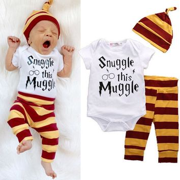 Snuggle this Muggle Bodysuit+Stripe Pants+Hat Outfits Clothes Sets 0-18M New Year 3PCS Baby Clothing Set Newborn Baby Boys Girls