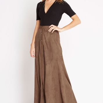 Grand Prairie Faux-Suede Maxi Skirt