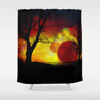 red planet Shower Curtain by Haroulita