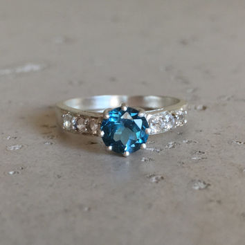London Blue Topaz Ring- Engagement Ring- Promise Ring for Her- Gemstone Rings- December Birthstone Ring- Anniversary Rings- Sterling Silver