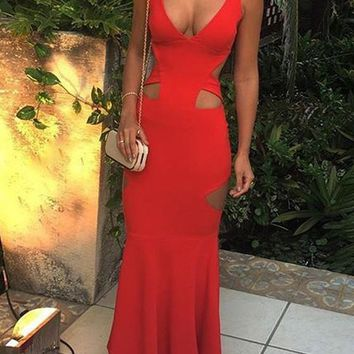 Red Draped Cut Out Deep V-neck Mermaid Prom Evening Party Maxi Dress