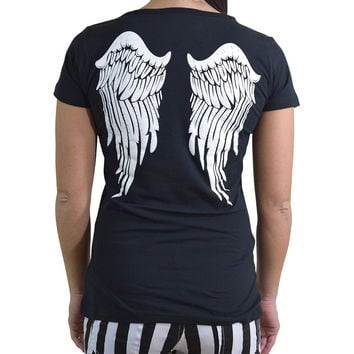 Gothic Angel White Angel Wings Black T-shirt