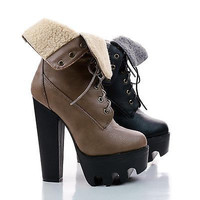 Vive17 Faux Fur Fold Over Lug Sole High Heel Ankle Booties