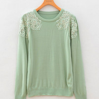 Lace Applique Long Sleeve Pullover