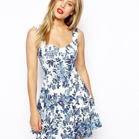 ASOS Skater Dress with Sweetheart Neck and Floral Texture Print