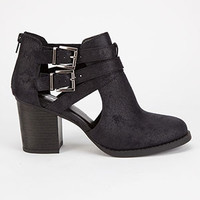 Cut Out Suede Booties - Black