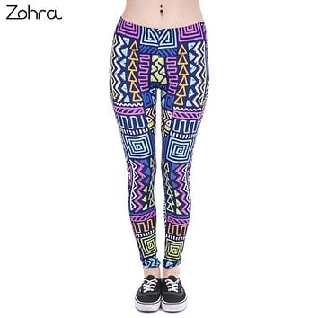Zohra Autumn Winter New Leggings African Zig Zag Purple Printing Fitness legging Sexy Silm High Waist Trouser Women Pants