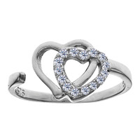 Sterling Silver Rhodium Plated Double Open Heart With CZ By Pass Style Adjustable Toe Ring