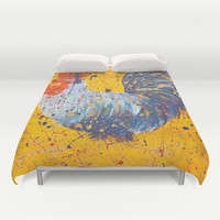 """mista roosta""  Rooster Rooster Duvet Cover by Jennifer Pennacchio"