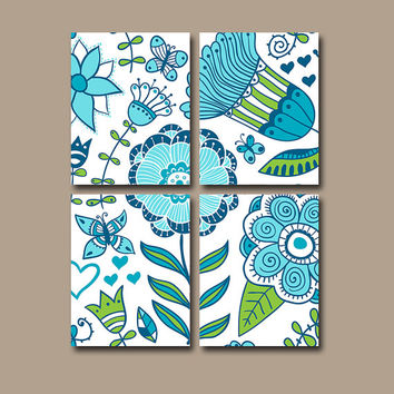 Flower Wall Art Canvas Blue Aqua Green Bedroom Nursery Decor Bathroom Butterfly Custom Colors Floral Set of 4 Prints Bedding Comforter