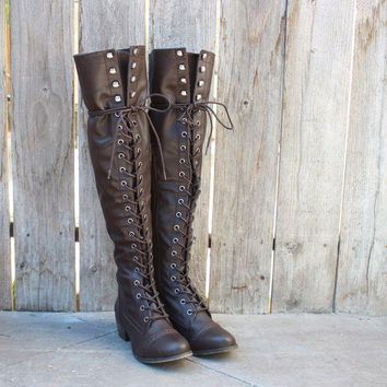 ESBON6V over the knee laced up boots - dark brown