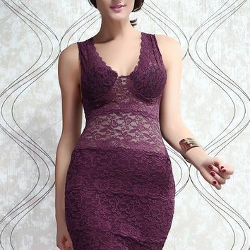 Chicloth Allover Lace Strappy Fitted Cup Bodycon Dress Purple