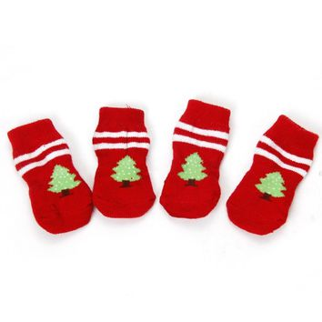 Chirstmas Products For Animals Pet Dog Warm Winter Christmas tree Socks Cute Cat Puppy Grooming Shoes Pet Adornment Pet Supplies