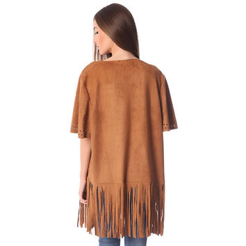 Q2 Store Camel suede jacket with fringe detail