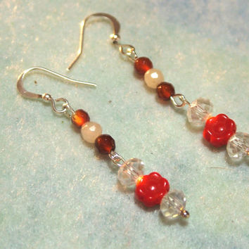 Earrings, Dangle, Pierced, Garnets, Quartz, Czech Beads, Red, Handmade, Silver Plated