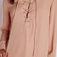LACE UP SHIRT DRESS NUDE