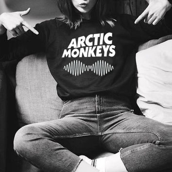 Sudaderas Mujer 2016 Casual Sweatshirt Women Winter Clothing ARCTIC MONKEYS Letter Print Moletom Full sleeve Harajuku Hoodies