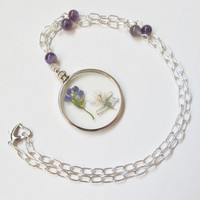 Pressed Flower Necklace, Real Flower Necklace, Amethyst Necklace, Real Flower Pendant, Gemstone Necklace, Pressed Flower Pendant