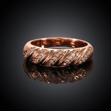 Twill Shape Rose Gold Plated Ring