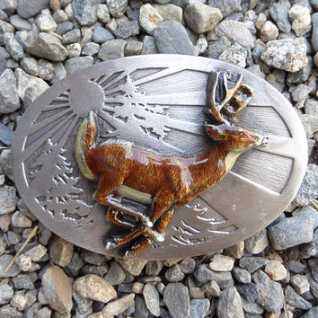 Vintage Pewter Belt Buckle with Enamel Deer, 1986 Siskiyou Buckle Co., Wildlife Gift for Hunter, Women or Men