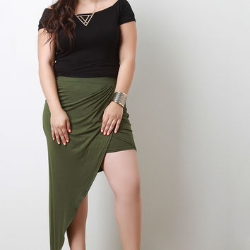 Plus Size Asymmetrical Draped Skirt