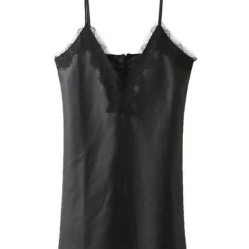 Black V-neck Lace Trim PU Cami Dress