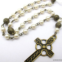 Anglican Prayer Beads - Celtic Cross and Pearls