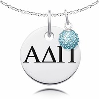 Buy Alpha Delta Pi Necklace with Crystal Ball Accent Charm. Alpha Delta Pi Necklaces
