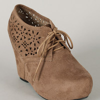 Wild Diva Lounge Edith-25B Perforated Lace Up Wedge Bootie