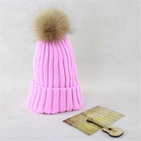 DCCKJG2 The Fox Fur Ball Hat Casual Knitted Warm Hats For Women Fashion Winter Cap Women's hats Female Beanies Knitted Imitate