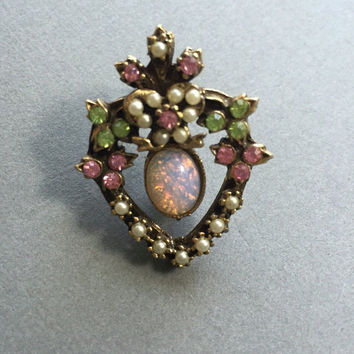 Coro Rhinestone Heart Pin with Faux Opal and Pearls
