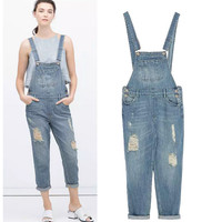Stylish Rinsed Denim Ripped Holes Ankle Denim Women's Fashion Romper [5013122948]