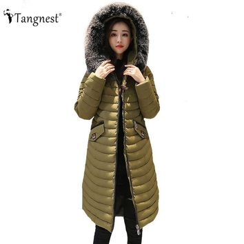 TANGNEST Women Long Hooded Coat 2017 Winter Casual European Slim Patchwork Coats Knee-Length Solid Color Chaqueta Mujer WWM1604