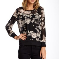Bobeau   Long Sleeve Blouse with Lace Inset   Nordstrom Rack