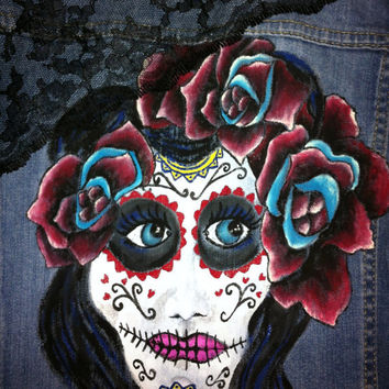 Handpainted sugar skull jean jacket