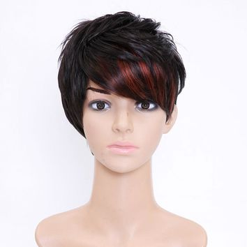 SHANGKE Hair Short Synthetic Wigs For  Women Highlight Women's Wig Heat Resistant Female Fake Hair Wigs