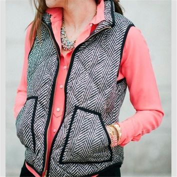 DCCK7XP Autumn&Winter Real Photo Designer Inspired Cotton Textured Herringbone Quilted Puffer Vest Gold Zipper