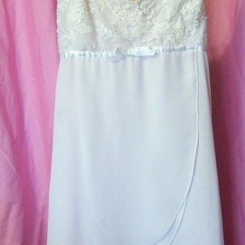 White, Sexy Night Gown, Chemise, Lace Chiffon, Flora Nikrooz, Size Small, Bridal Honeymoon Nightgown