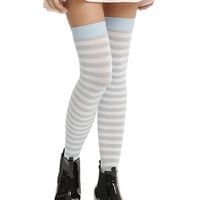 Blackheart Blue & White Striped Thigh Highs