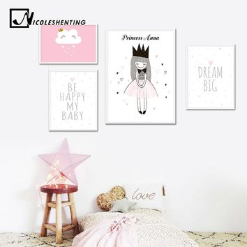 Custom Name Poster Baby Girl Nursery Wall Art Canvas Print Pink Cartoon Painting Nordic Kids Decoration Picture Bedroom Decor
