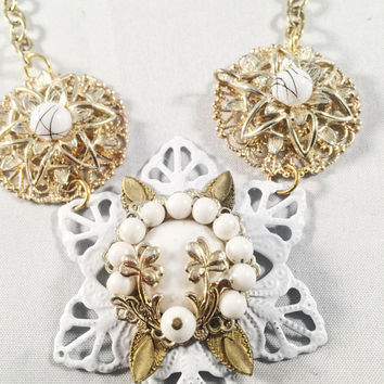 Hand Designed White And Gold Floral Necklace, Vintage Jewelry Assemblage, OOAK, Gift Giving, Decorative Toggle Clasp