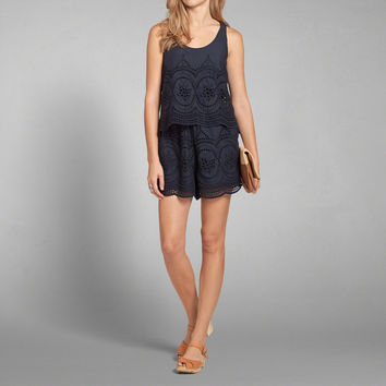 Eyelet Lace Tiered Romper