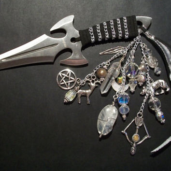 "Artemis / Diana Athame - 6.5"" Embellished  To honor the Goddesses Artemis Or Diana  - Moonstone, Quartz, Pearl"