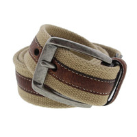 Tommy Bahama Mens Canvas Leather Trim Casual Belt