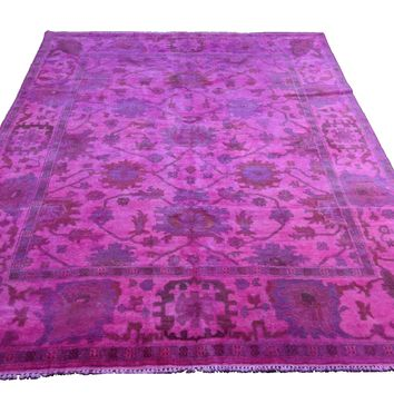 8x10 Overdyed Hot Pink Rug Turkish Ushak 100% Wool 2934