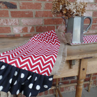 Burlap With Red Chevron and Black Table Runner, Collegiate Colors, Tailgate, Kitchen tablecloth, kitchen linens,